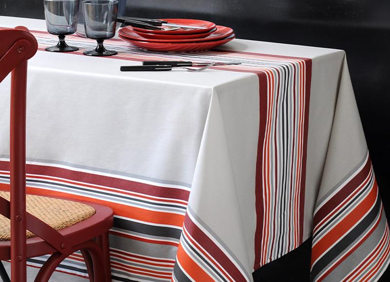 Tissu au m/étre enduit antitache Biarritz Cote Basque Blanc 140cm