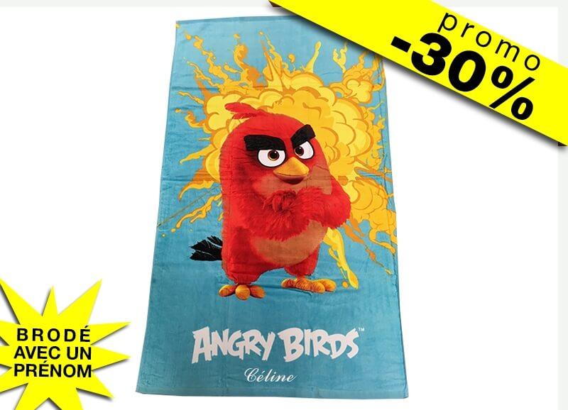 Serviette De Bain Angry Birds.Drap De Plage Angry Birds Avec Prenom Ligne Verte